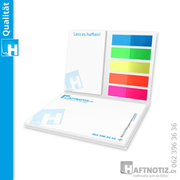 Haftnotiz Booklet mit Haftnotizen und Flags Marker Index Streifen mit Druck