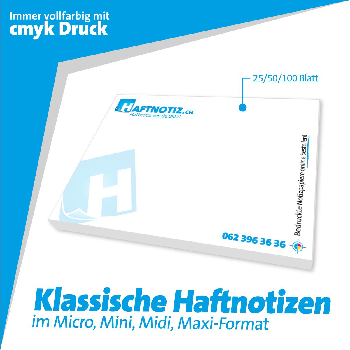 Haftnotizen mit Druck bestellen bei Haftnotiz.ch